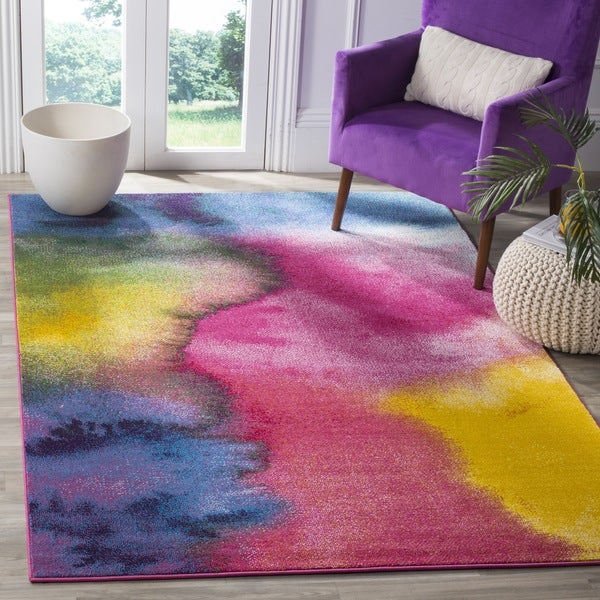 Shop Safavieh Watercolor Contemporary Green/ Fuchsia Rug