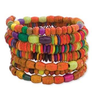 Wide Orange-tone Dyed Wood Bead Coil Wrap Bracelet