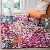 Safavieh Watercolor Bohemian Medallion Ivory/ Fuchsia Rug - 6' 7 x 9'