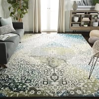 "Safavieh Watercolor Bohemian Medallion Ivory/ Peacock Blue Rug - 6'7"" x 9'"