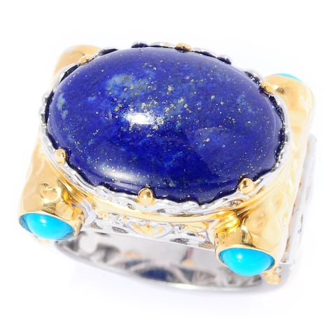 Michael Valitutti Palladium Silver Lapis Lazuli and Sleeping Beauty Turquoise Cocktail Ring