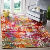 "Safavieh Watercolor Contemporary Orange/ Green Rug - 6'7"" x 9'"