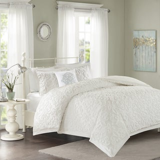 Madison Park Sarah White Tufted Comforter 4-Piece Set King/ Cal-King Size in White (As Is Item)