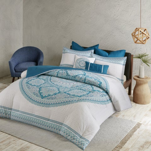 The Curated Nomad La Boheme Aqua Cotton 7-piece Comforter Set