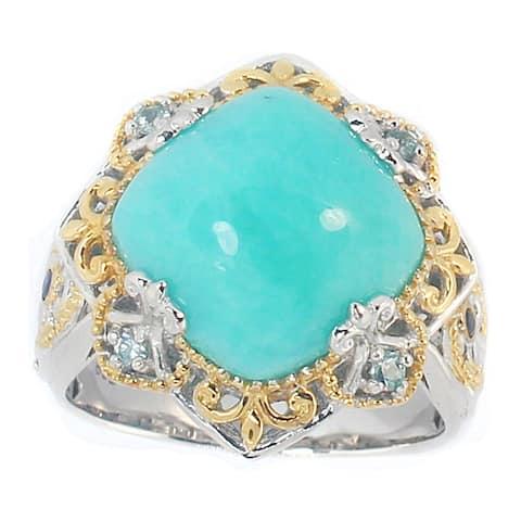 Michael Valitutti Palladium Silver Amazonite, Blue Zircon and Blue Sapphire Ring