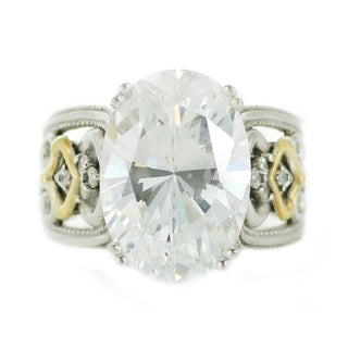 One-of-a-kind Michael Valitutti 14K and Silver Cubic Zirconia Ring