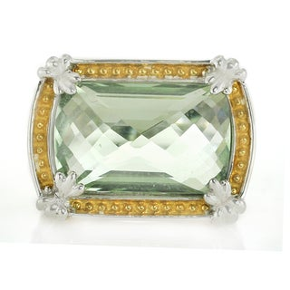 One-of-a-kind Michael Valitutti Palladium Silver Green Amethyst and White Sapphire Ring