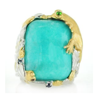 One-of-a-kind Michael Valitutti Amazonite, Chrome Diopside, Blue Sapphire and Ruby Ring