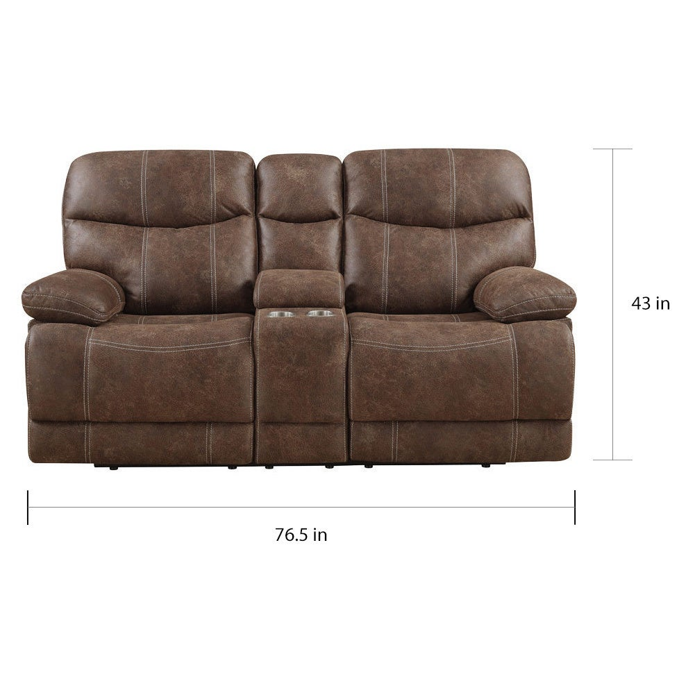 Fantastic Emerald Sanded Brown Microfiber Dual Reclining Loveseat With Console Cjindustries Chair Design For Home Cjindustriesco