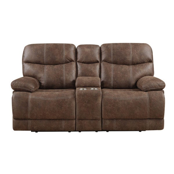 Shop Emerald Sanded Brown Microfiber Dual Reclining