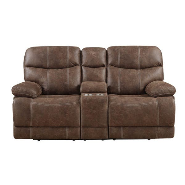 Remarkable Emerald Sanded Brown Microfiber Dual Reclining Loveseat With Console Customarchery Wood Chair Design Ideas Customarcherynet