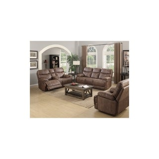 Emerald Sanded Brown Microfiber Dual Reclining Loveseat with Console