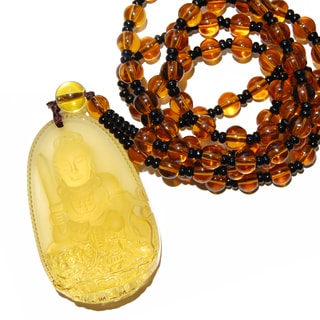 Orange/Black 26-inch Beaded Necklace With Synthetic Amber Buddha Pendant
