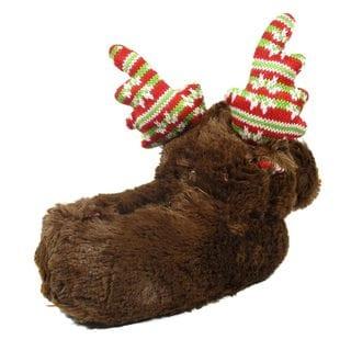 Blue Childrens Brown Faux-fur Christmas Deer Slippers