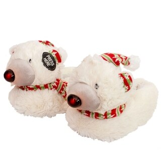 Blue Childrens Winter Christmas Reindeer, Bear Slippers with LED Lights