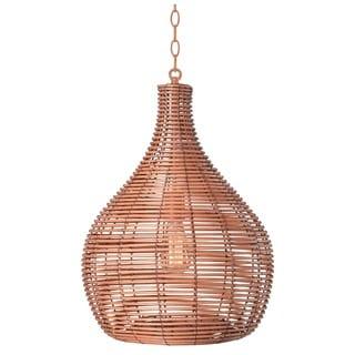 Heffner Light Tan 1-light Pendant - Bronze  sc 1 st  Overstock.com & Buy Rattan Pendant Lighting Online at Overstock.com   Our Best ...