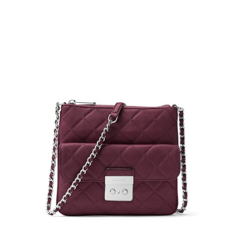 Michael Kors Sloan Plum Leather Medium Swingpack Crossbody Handbag