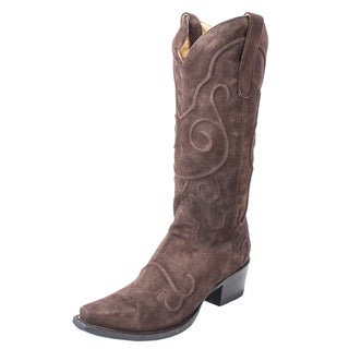 Lane Boots Women's Embossed Brown Leather/Rubber Cowboy Boot