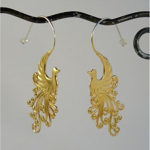 Handmade 22k Goldplated Peacock Earrings by Spirit Tribal Fusion (Indonesia)