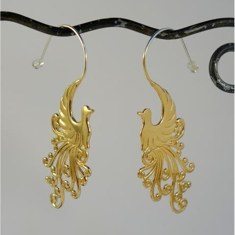 Handmade Gold Plated Peacock Earrings by Spirit (Indonesia)