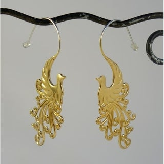 22k Goldplated Peacock Earrings by Spirit Tribal Fusion (Bali)