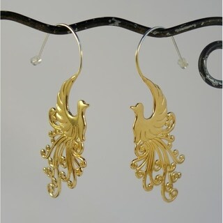 Handmade 22k Goldplated Peacock Earrings by Spirit Tribal Fusion (Bali)