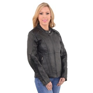 Women's Leather Motorcycle Stud and Wings Jacket
