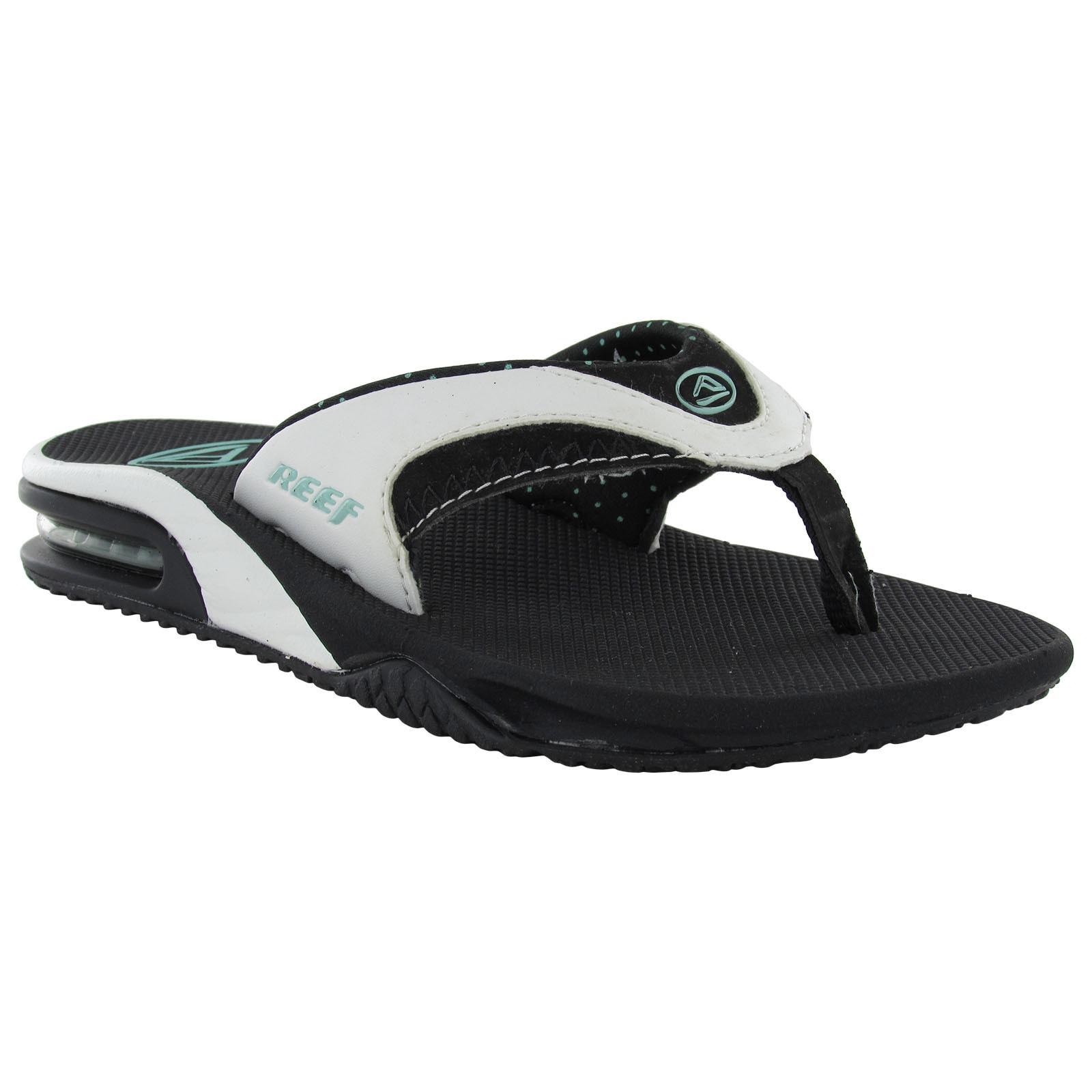 Reef Womens Fanning Flip Flop Sandals (Black/White/Aqua, ...