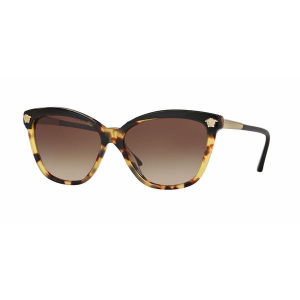 3c775bf4f81 Shop Versace Women VE4313 517713 Havana Plastic Rectangle Sunglasses ...