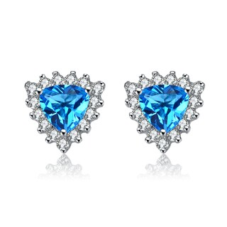 Collette Z Sterling Silver Crystal Blue Cubic Zirconia Earrings