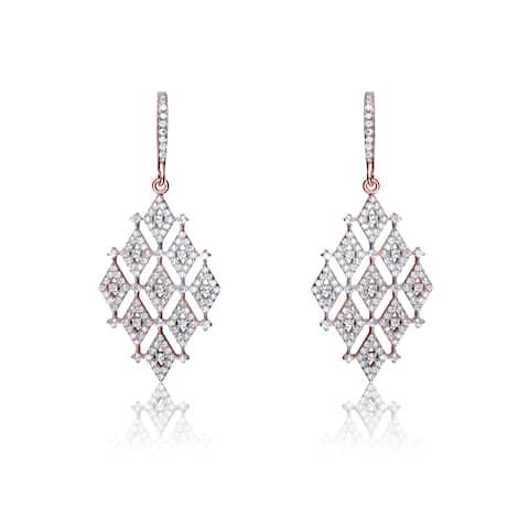 Collette Z Sterling Silver Cubic Zirconia Trendy Earrings - White