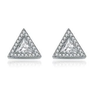 Collette Z Sterling Silver Cubic Zirconia Triangle Earrings