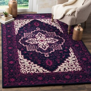 Safavieh Bellagio Handmade Bohemian Purple/ Ivory Wool Rug - 2'6 x 4'