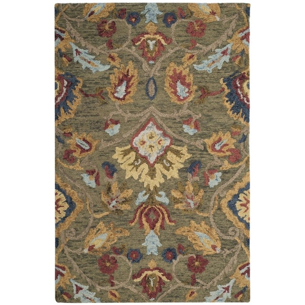 Safavieh Hand-Woven Blossom Green/ Multicolored Wool Rug (2' x 3')