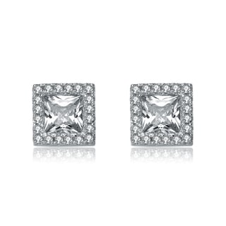 Collette Z Sterling Silver Cubic Zirconia Square Button Earrings