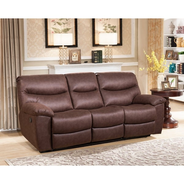 Abbyson Tyler Fabric Reclining Sofa With Drop Down Console