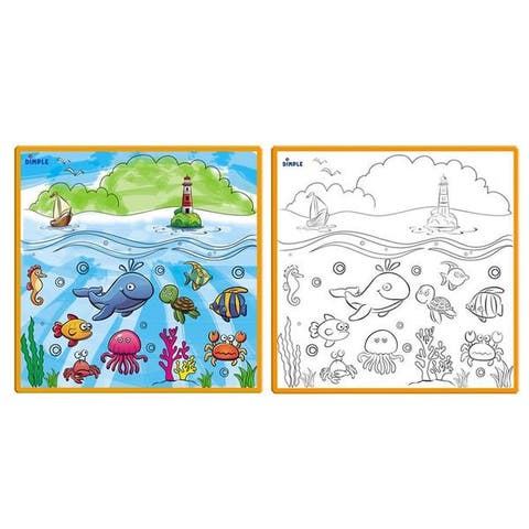 Dimple Large Washable Kids Coloring Play Mat with 'Fantastic Sea Life' Design, Along with 12 Washable Markers