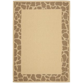 Safavieh Courtyard Border Cream/ Brown Indoor/ Outdoor Rug (6' 6 x 9' 6)