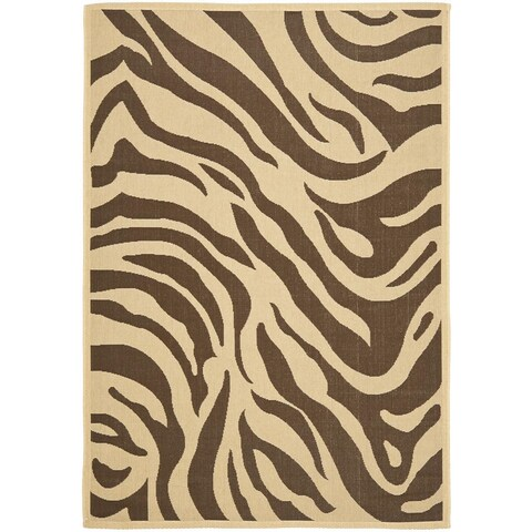 "Safavieh Courtyard Animal Print Cream/ Chocolate Indoor/ Outdoor Rug - 6'6"" x 9'6"""