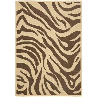 Safavieh Courtyard Animal Print Cream/ Chocolate Indoor/ Outdoor Rug (6' 6 x 9' 6)