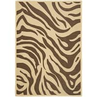 "Safavieh Courtyard Animal Print Cream/ Chocolate Indoor/ Outdoor Rug - 6'6"" x 9'6"""