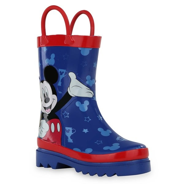 Disney Toddlers'/Little Kids' Mickey Mouse Blue and Red Rain Boots
