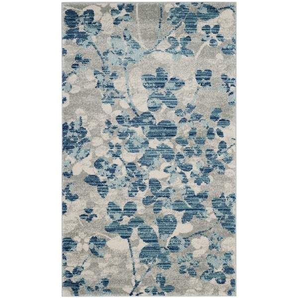 "Safavieh Evoke Vintage Flora Grey / Light Blue Rug - 2'2"" x 4'"