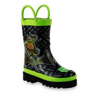 Nickelodeon Children's Teenage Mutant Ninja Turtles Black and Green Rubber Rain Boots