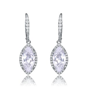 Collette Z Sterling Silver Cubic Zirconia Pointed Oval Earrings