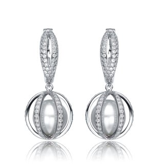 Collette Z Sterling Silver Cubic Zirconia Pearl Vault Earrings