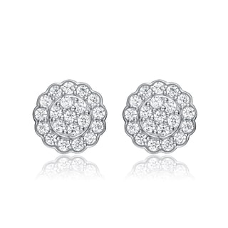 Collette Z Sterling Silver Cubic Zirconia Pave Round Earrings