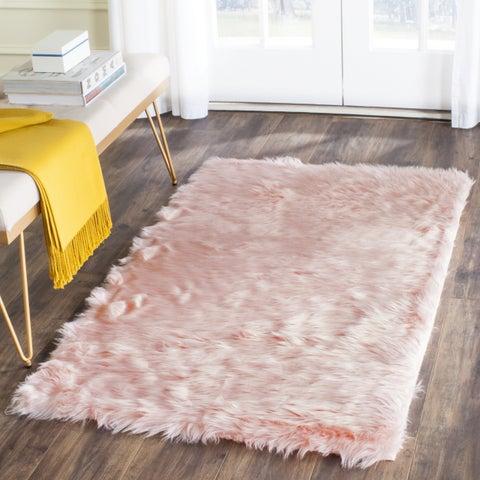 "Safavieh Handmade Faux Sheepskin Pink Japanese Acrylic Rug - 2'6"" x 4'"