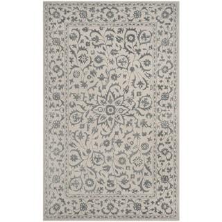 Safavieh Handmade Glamour Floral Silver/ Ivory Viscose Area Rug (2' x 3')