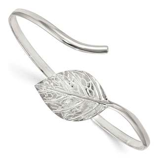 Sterling Silver Leaf Textured and Polished Bangle